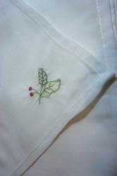12 Linen Embroidered Napkins, Holly