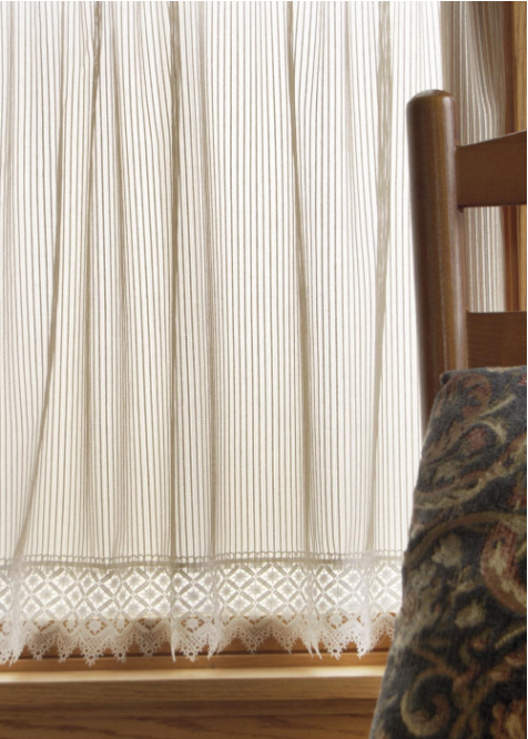 chelsea pinstripe sheer curtains with macrame lace edge