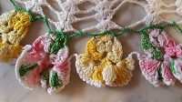 Vintage Pink & Yellow Pansy Doily