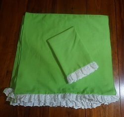 10 Lime Green Napkins with Lace