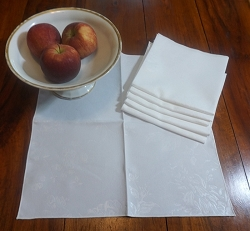 Set of 6 White Damask Napkins