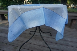 Blue and White Organza Tablecloth 46x46