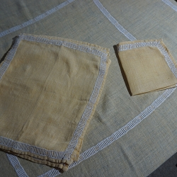 Yellow Linen Tablecloth 50x50 with Napkins