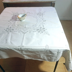 Ivory Linen Tablecloth with Gray Embroidery, 48x48