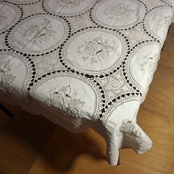 Taupe on Ivory Crochet Embroidered Tablecloth 48x48
