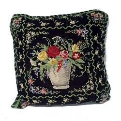 Cross Stitch Black Floral Pillow