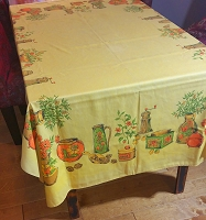 60's Linen Tablecloth 50 x 63