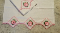 Vintage White Pillowcase Pair with Pink Crochet Flowers