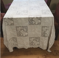 Large Vintage White Tablecloth with Lace and Embroidered Panels