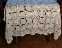 Vintage Crochet Tablecloth in Ecru