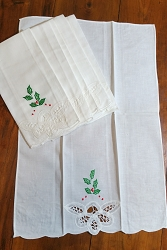 Christmas Battenburg Finger Towels, Set/6