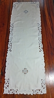 White with Blue Table Runner 47x16