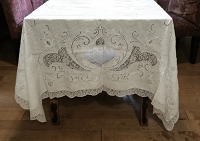 Large Vintage White Tablecloth with Lace 96