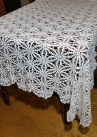 White Crocheted Lace Tablecloth