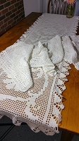 White Crochet Valance & Table Runner