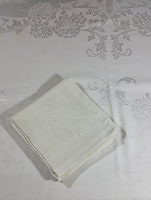 Vintage White Damask Tablecloth & Napkins