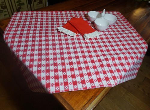 Red Checkered Tablecloth 70 x 108