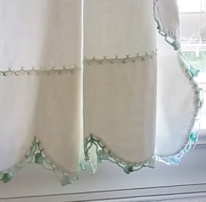 White Curtains with Green Crochet Lace (2 pair)