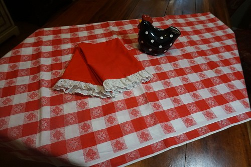 1976 Vintage Red Check Tablecloth 65x85