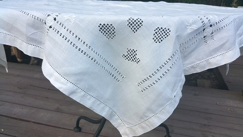 Drawn Thread Embroidered Tablecloth 34x34