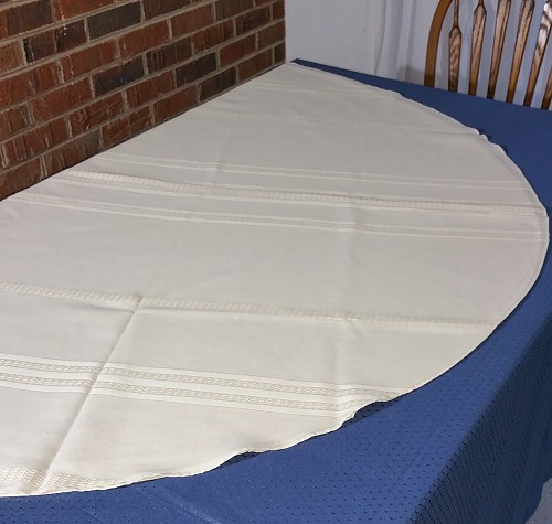 1970's Oval Tablecloth, Ivory