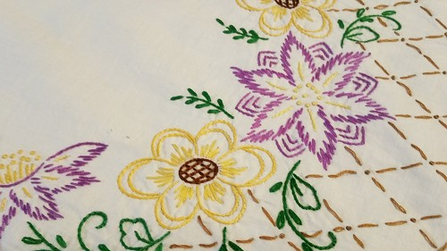 Vintage Embroidered Table Runner or Scarf