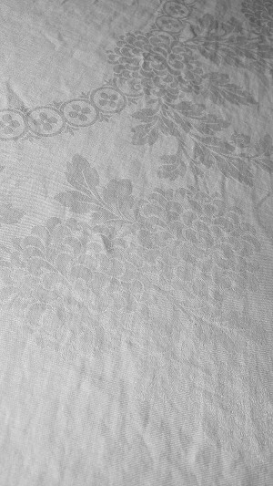White Damask Tablecloth 63 x 80