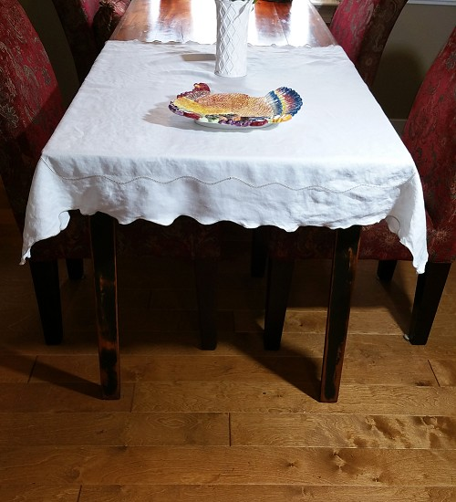 Ecru and Tan Tablecloth 48x48