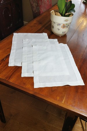 White Linen Placemats, set of 3